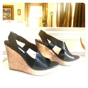 Diane von Furstenberg Black Sunny Leather Wedges